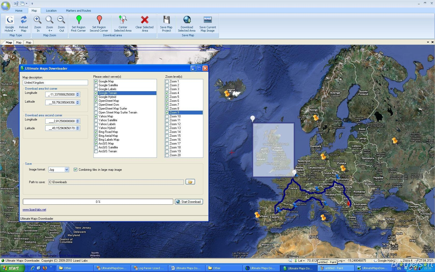 Download & save google maps as images on pc.